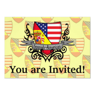 Spanish-American Shield Flag 13 Cm X 18 Cm Invitation Card