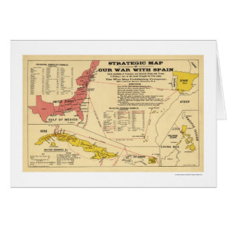 Spanish American War Map 1898 Greeting Card