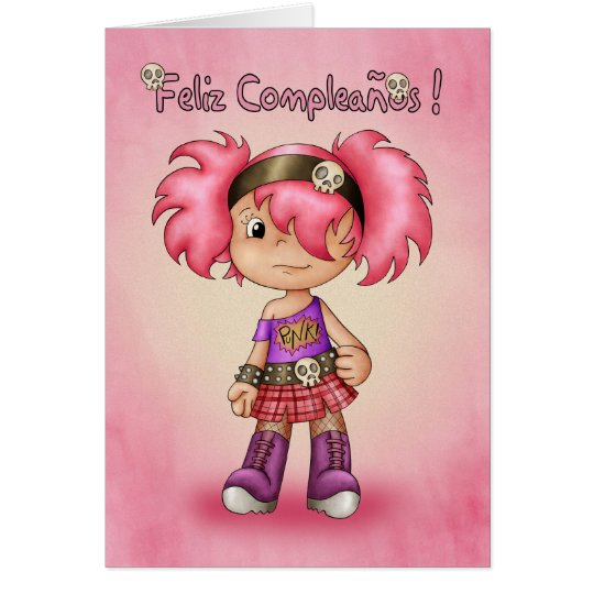 Spanish Birthday Card - Cute Rock Chick - Feliz Co