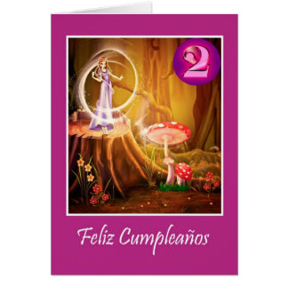 Spanish birthday for 2 year old girl with fairy greeting card