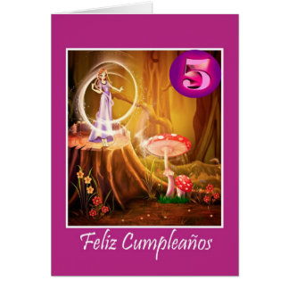 Spanish birthday for 5 year old girl with fairy greeting card