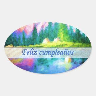 Spanish Birthday Pink Mountain Oval Sticker