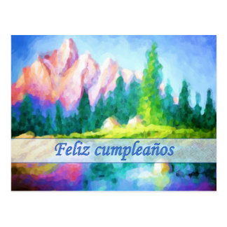 Spanish Birthday Pink Mountain Postcard