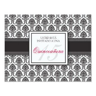 SPANISH Black Damask Quinceañera Formal Invitación 11 Cm X 14 Cm Invitation Card