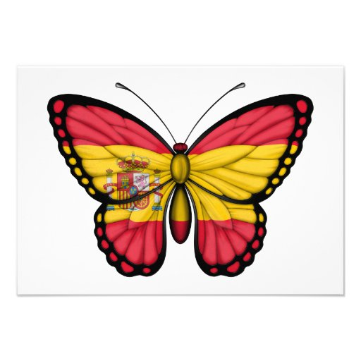 Spanish Butterfly Flag Custom Invites