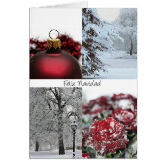 spanish christmas card red winter snow collage