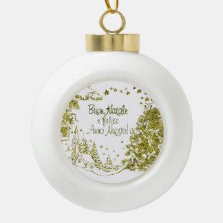 Spanish Christmas, trees gold winter Ceramic Ball Decoration