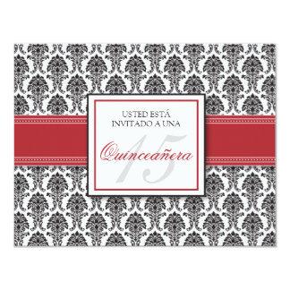 SPANISH Cranberry Damask Quinceañera Invitación 11 Cm X 14 Cm Invitation Card