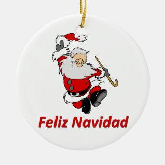 Spanish Dancing Santa Claus Round Ceramic Decoration