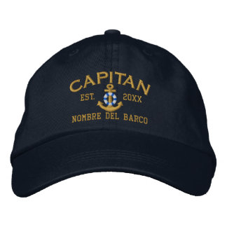 SPANISH El Capitan Captain Name and Year Embroidered Baseball Caps