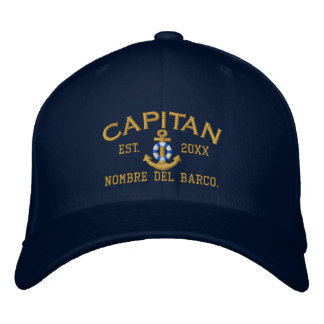 SPANISH El Capitan Lifesaver Anchor with your Name Embroidered Baseball Caps