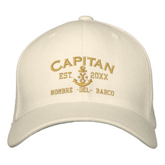 SPANISH El Capitan Year and Name in Golden Style Embroidered Hat
