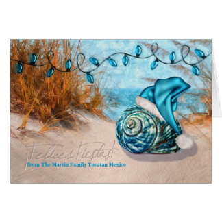 Spanish Felices Fiestas | Blue Santa Hat Beach Card