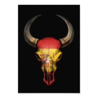 Spanish Flag Bull Skull on Black Announcements