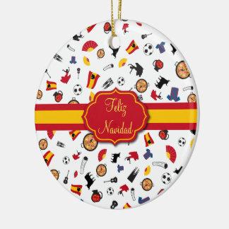 Spanish Flag Feliz Navidad Ornament