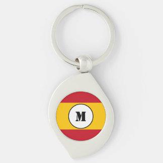 Spanish flag Keychain Silver-Colored Swirl Key Ring