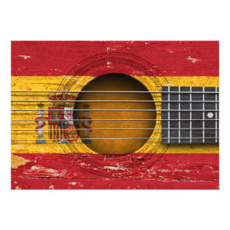 Spanish Flag on Old Acoustic Guitar Cards