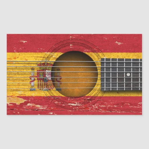 Spanish Flag on Old Acoustic Guitar Sticker