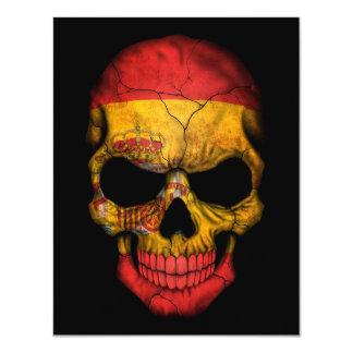 Spanish Flag Skull on Black Invite