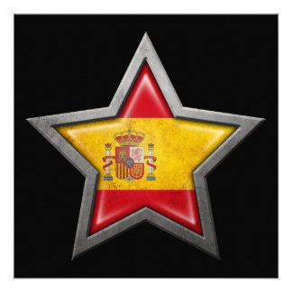 Spanish Flag Star on Black Personalized Invite