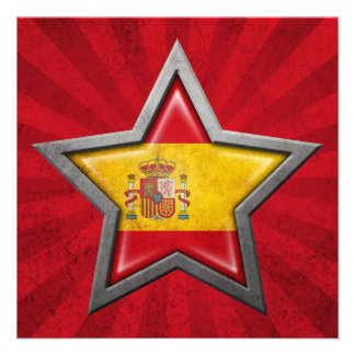 Spanish Flag Star with Rays of Light Personalized Announcements