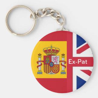 spanish flag, Union Jack Ex-Pat Basic Round Button Key Ring