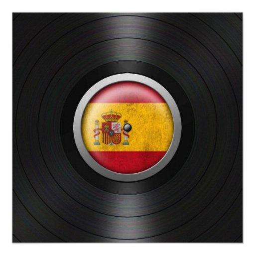 Spanish Flag Vinyl Record Album Graphic Custom Announcement