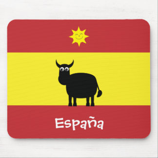 Spanish Flag With Cute Bull & Smiling Sun Mouse Pad