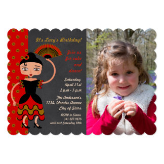 Spanish Flamengo Dancing Birthday Party invitation