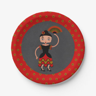 Spanish Flamengo Dancing Birthday Party Paper Plate