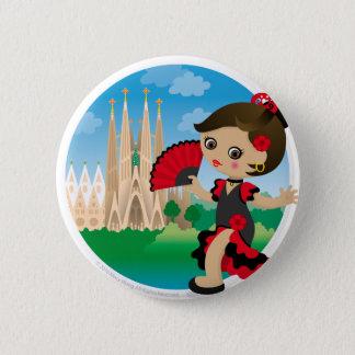 Spanish girl 6 cm round badge
