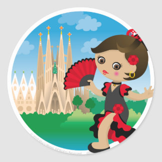 Spanish girl round stickers