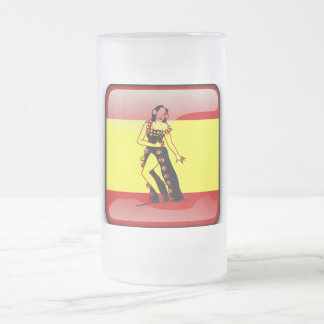 Spanish glossy flag frosted glass beer mug