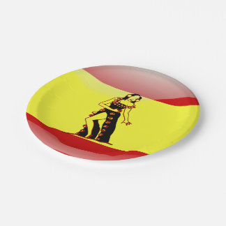 Spanish glossy flag paper plate