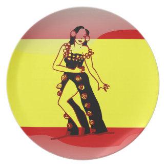 Spanish glossy flag plate