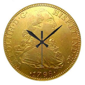 Spanish Gold Doubloon Kitchen Clock