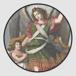 Spanish Guardian Angel and Child Classic Round Sticker