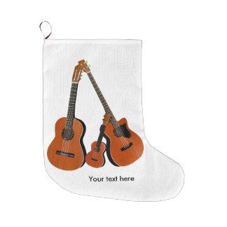 Spanish Guitar Acoustic Bass and Ukulele Large Christmas Stocking