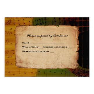 Spanish Guitar Music Green Gold Red RSVP 3.5x5 Paper Invitation Card