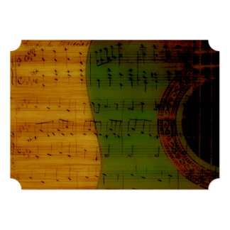 Spanish Guitar Music Green Gold Red Wedding 5x7 Paper Invitation Card