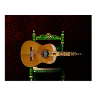 Spanish guitar with Giralda of Seville and chair Postcard