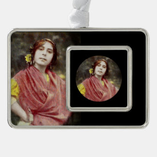 Spanish Gypsy Woman Silver Plated Framed Ornament