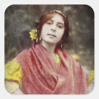 Spanish Gypsy Woman Square Sticker