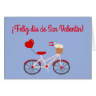 """Spanish """"Happy Valentine's Day"""" Card with Bicycle"""