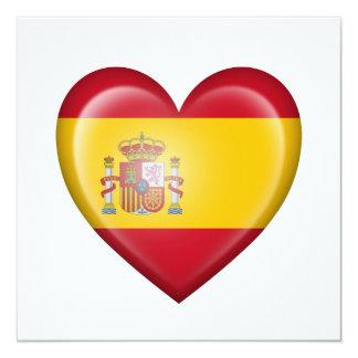 Spanish Heart Flag on White Custom Announcements
