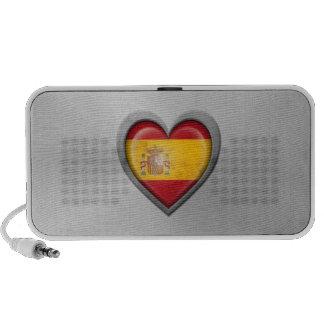 Spanish Heart Flag Stainless Steel Effect Mp3 Speakers
