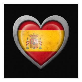 Spanish Heart Flag with Metal Effect Announcement