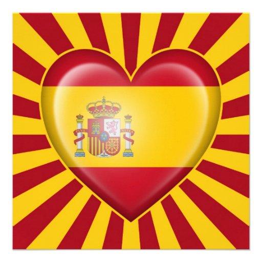 Spanish Heart Flag with Star Burst Custom Invitations
