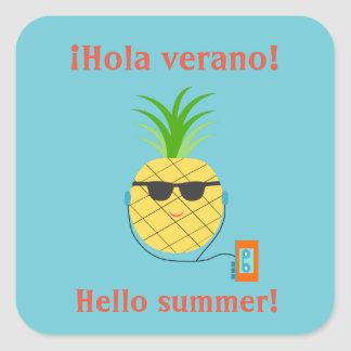 "Spanish ""Hello summer"" Sticker with Pineapple"