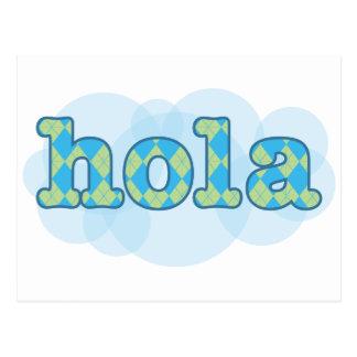Spanish - Hola with argyle pattern Postcard
